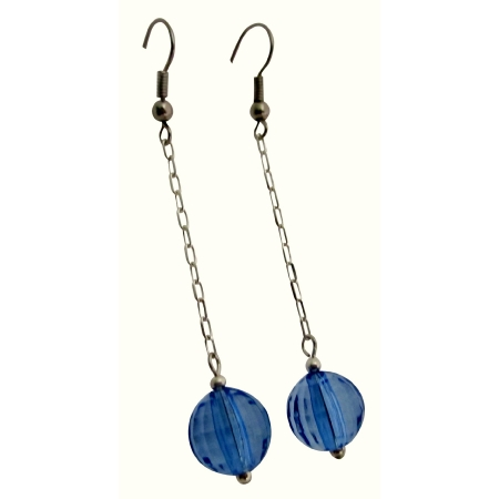 Dangling Chain Earrings Blue Acrylic Bead Nice Blue Dollar Earrings