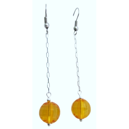 Pumpkin Color Jewelry For Dollar Earrings w/ Dangling Chain Earrings