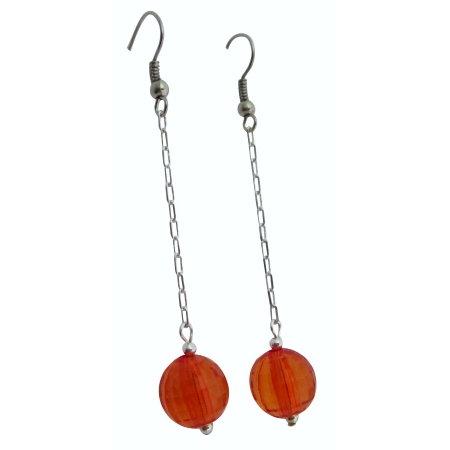 Sexy Orange Dollar Earrings Round Orange Ball Bead w/ Chain Dangling