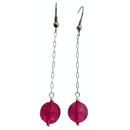 Fuchsia Bead Dangling Earrings Good Quality Fuchsia Acrylic Earrings