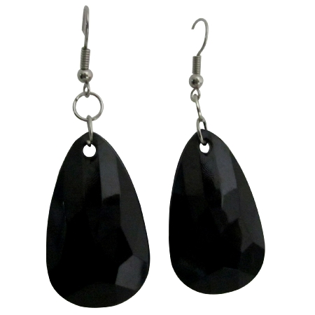 Jet Black Bead Dollar Earrings Incredible Price Polygan Shaped Bead