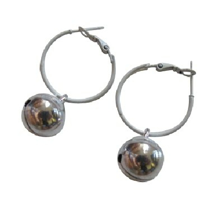 White Hoop Earrings Silver Jingle Bell Dangling Just Dollar Earrings