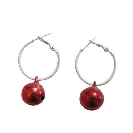 Christmas Red Jingle Bell Cheap Dollar Earrings White Hoop Earrings