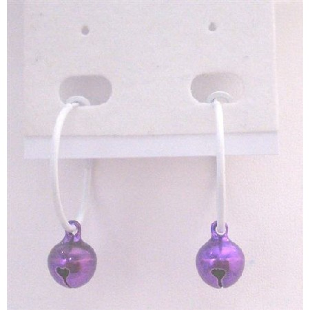 Cheap Hoop Earrings Only Dollar Purple Jingle Bell Dangling White Hoop