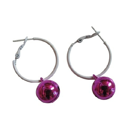 Christmas Jewelry Jingle Bell Earrings White Hoop w/ Fuchsia Bell