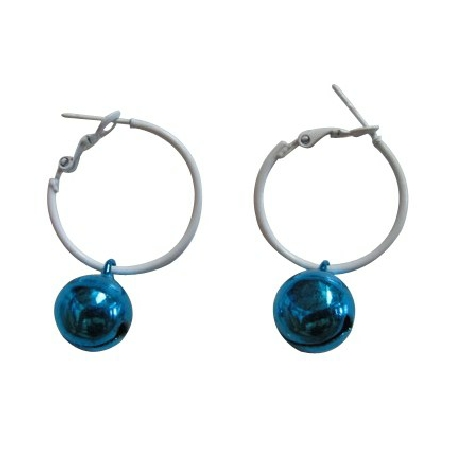 Christmas Gift Jingle Bell Earrings Blue Bell Dangling From White Hoop