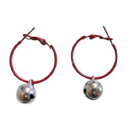 Christmas Gift Brown Hoop Silver Jingle Bell Just For $1 Earrings