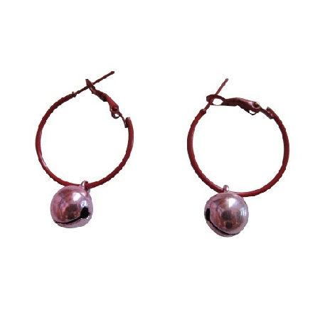 Cute Only Dollar Earrings Jewelry Brown Hoop w/ Pink Bell Dangling