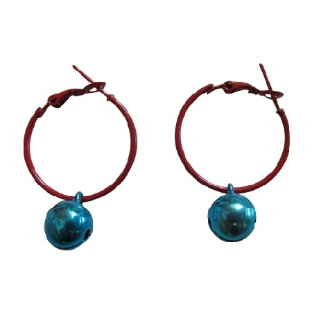 Blue Bell Dangling Hoop Earrings Very Cute Jewelry For Dollar