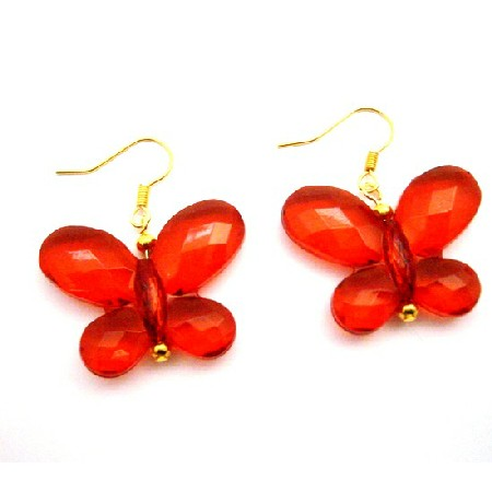 Looking For Butterfly Jewelry Red Striking Butterfly Gold Hook Earring