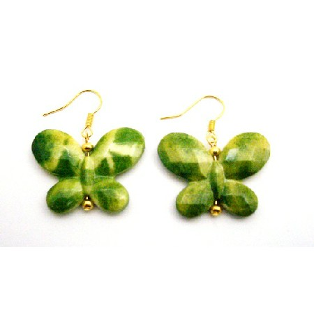 Girls Return Gifts Butterfly In Green Yellow Shaded Gold Hook Earrings