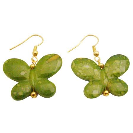 Gift Giving For Club Members In Butterfly In Blue Yellow Hook Earrings