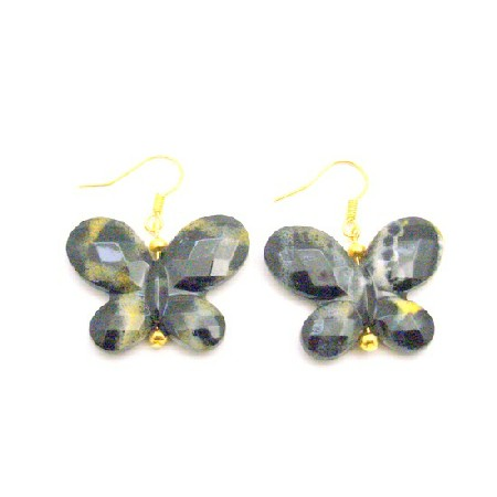 Cheap Holiday Gifts Dollar Earrings Black Butterfly Gold Hook Earrings