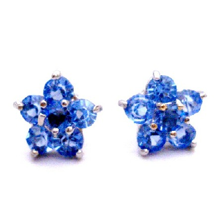 Birthday Gift Return Earrings Blue Flower Stud Earrings