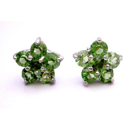 Finding Charitable Birthday Gift Return Peridot Flower Stud Earrings