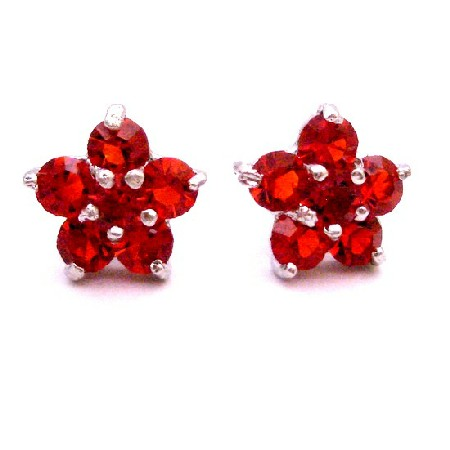 Girls Fancy Return Gift Red Stud Earrings Flower Stud Earrings