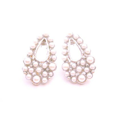 Looking For Dollar Earrings Fully Embedded White Pearls In Pear Shape