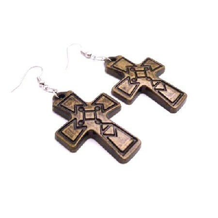 Cross Earrings Jewelry Brass Cross Earrings