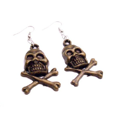 skull Head Earrings In Brass Coated Skull Jewelry