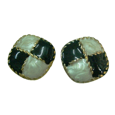 Adorable Black & White Enamel Earrings Diamond Shaped