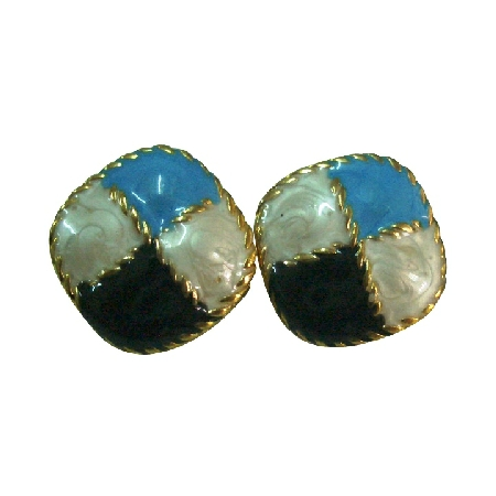 Flattering Earrings Awesome Combo Black White & Blue