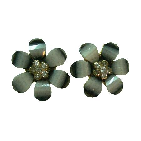 Sparkling Flower Stud Earrings Gray Color w/ Rhinestones