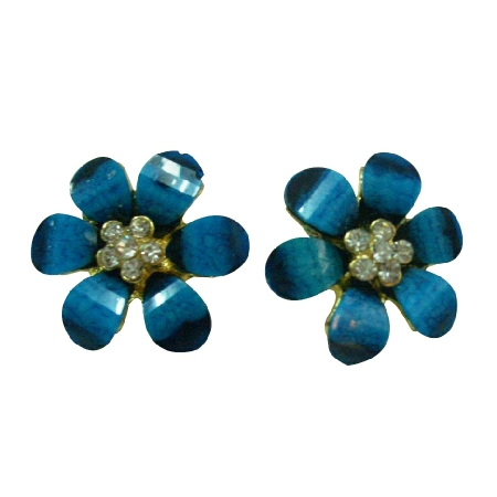 Resin Coated Blue Flowers Earrings Super Price