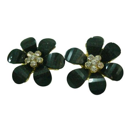 Black Sparkling Flower Stud Earrings Super Price