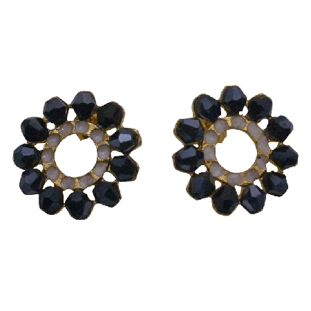 Crystals Bicon Flower Stud Earrings Just For You