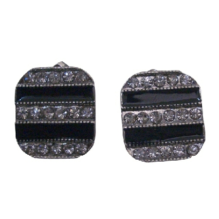 Square Shaped Prog Set Crystals Decorated Stud Earrings