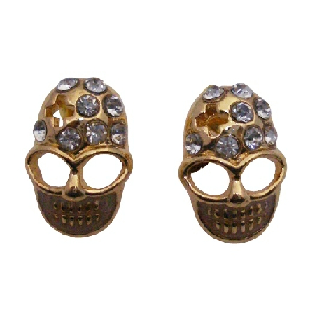 Gold Skull Head Earrings w/ Clear Stud Decorated Earrings