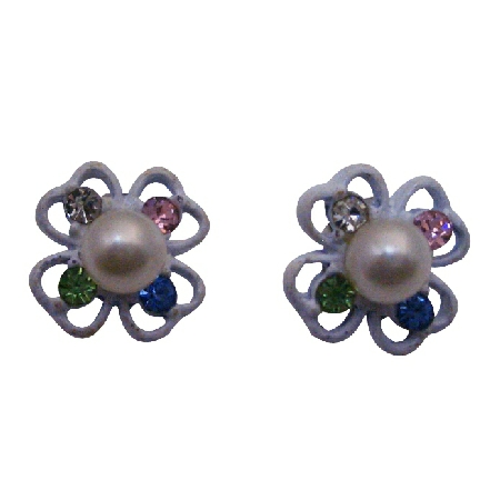 Flower Stud Earring w/ Multicolored Rhinestones
