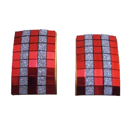 Red color Rectangular Shaped Shiny Earrings