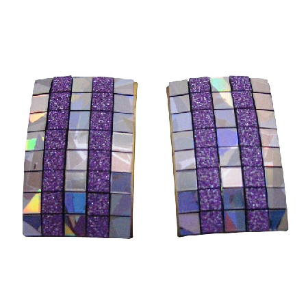 Elegant Design Lilac Rectangular Shaped Shiny Earrings