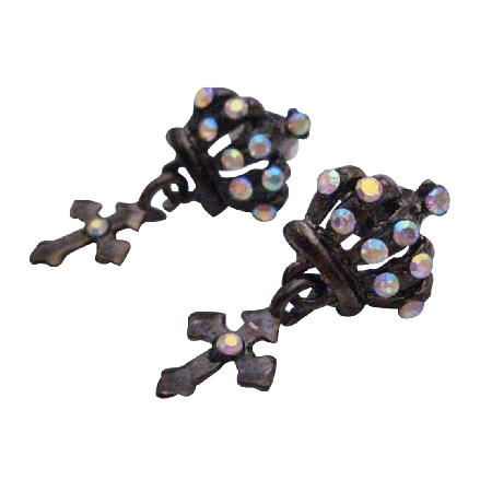 Fashionable & Stylish Crown Shaped Earrings w/ Dangling Cross
