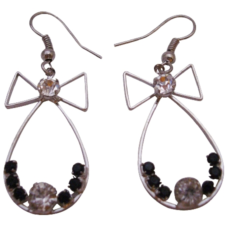 Fashionable Dangle Earrings Affordable Price Bow Shaped