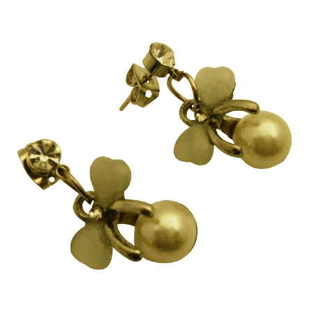 Fashionable Dangle w/ Bow Rhinestones Earrings