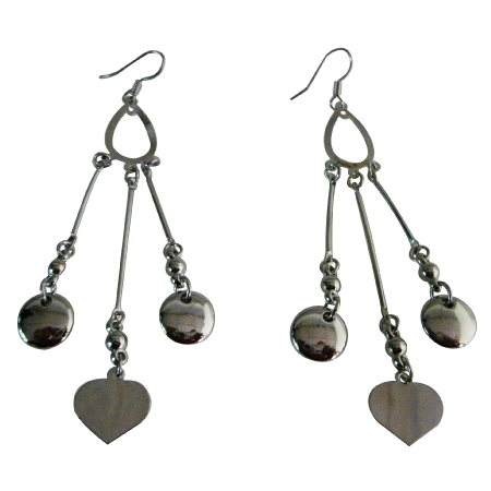 Heart Dangling Designer Earring w/ Flat Coins
