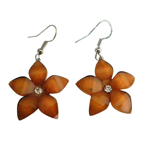 Flower Jewelry Brown Shimmering Earrigns