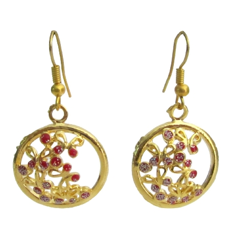 Novelty Fabulous Round Gold Plated Earrings