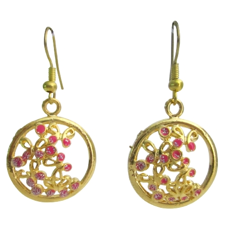 Fun Wearing Casual Affordable Gold Pink Earrings