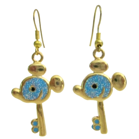 Micky Mouse Earrings Turquoise Blue Key Earrings