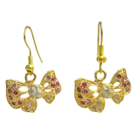 Glittering Sparkling Gold Butterlfy Earrings