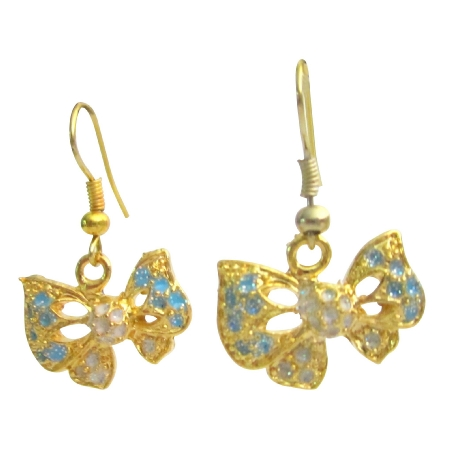 Goden Butterly Earrings w/ Turquoise Blue & Clear Sprkling