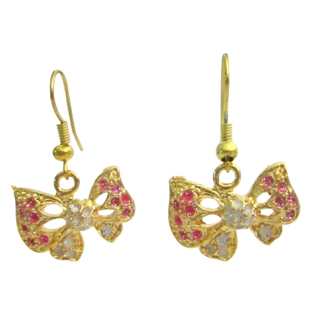 Golden Butterfly Jewelry Pink Butterfly Earrings