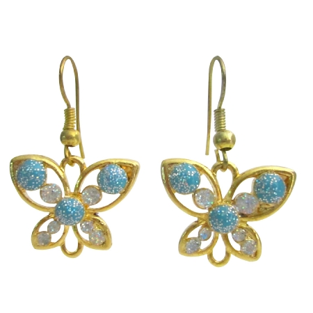 Holidays Gift Butterfly Earrings Golden butterfly