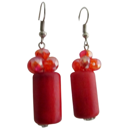 Holiday Gift Earrings Red Barrell with Crystals