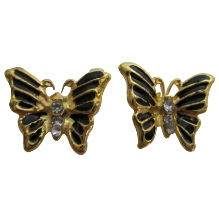 Wholesale Jewelry Painted Golden Butterfly Earrings