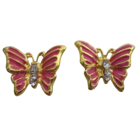 Hot Pink Butterfly Golden Beautiful Cute Gift Earrings