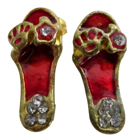 Striking Red Cute Slipper Earrings